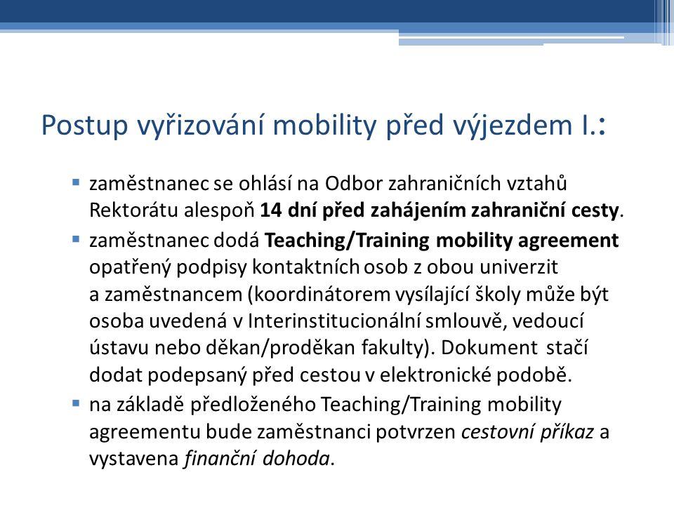Postup vyřizování mobility před výjezdem I.