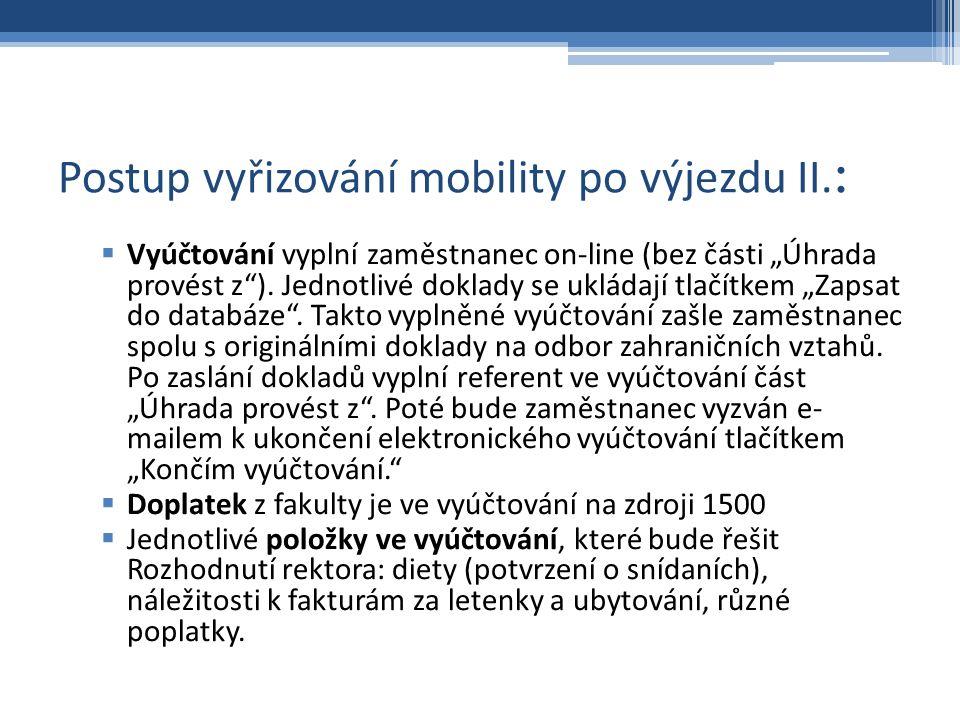 Postup vyřizování mobility po výjezdu II.