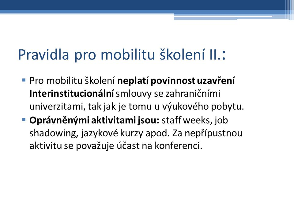 Pravidla pro mobilitu školení II.