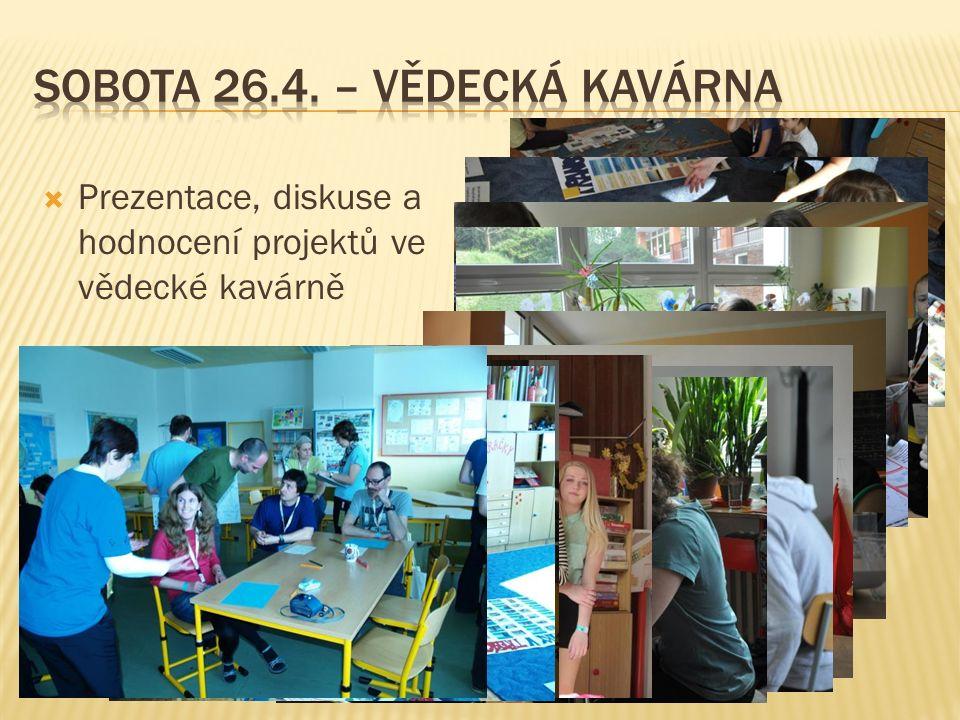  Prezentace, diskuse a hodnocení projektů ve vědecké kavárně