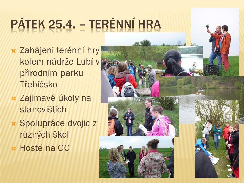  Zahájení terénní hry kolem nádrže Lubí v přírodním parku Třebíčsko  Zajímavé úkoly na stanovištích  Spolupráce dvojic z různých škol  Hosté na GG