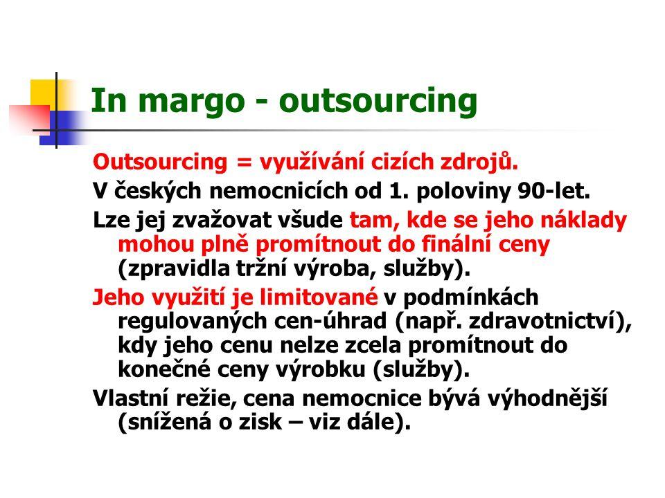 In margo - outsourcing Outsourcing = využívání cizích zdrojů.