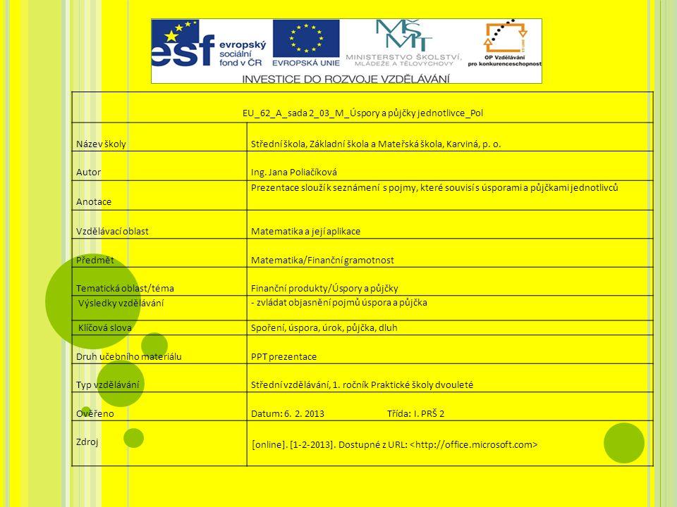 EU_62_A_sada 2_03_M_Úspory a půjčky jednotlivce_Pol Název školy Střední škola, Základní škola a Mateřská škola, Karviná, p.