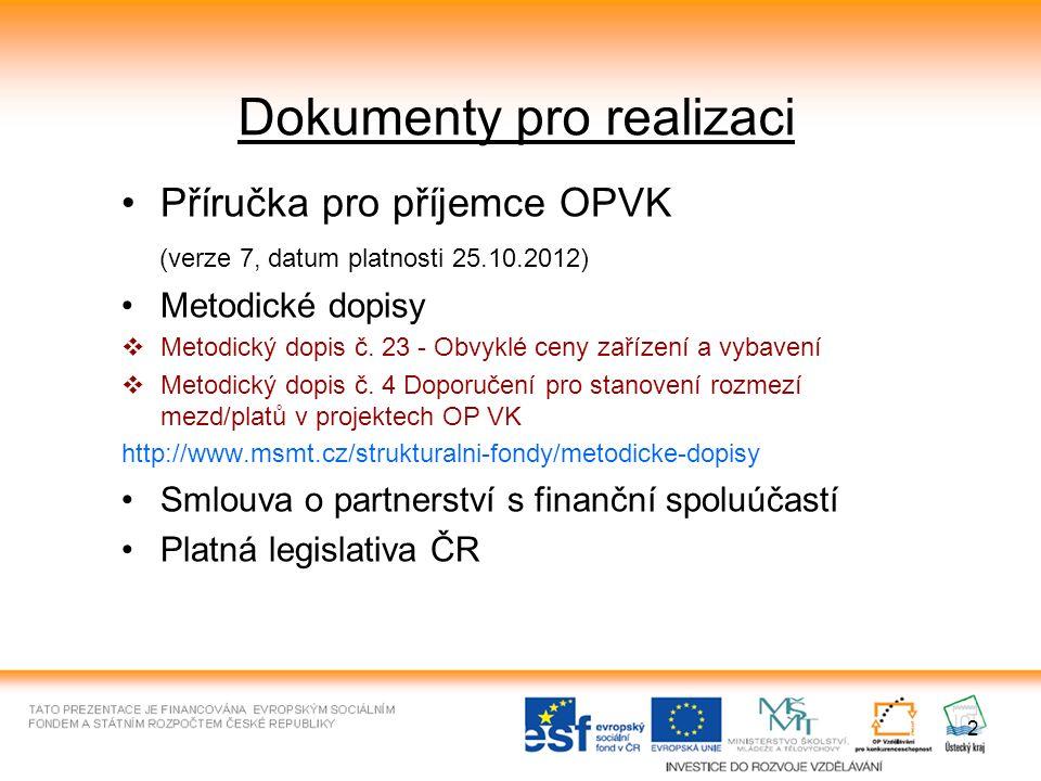 2 Dokumenty pro realizaci Příručka pro příjemce OPVK (verze 7, datum platnosti 25.10.2012) Metodické dopisy  Metodický dopis č. 23 - Obvyklé ceny zař