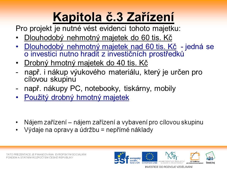 21 Kapitola č.3 Zařízení Pro projekt je nutné vést evidenci tohoto majetku: Dlouhodobý nehmotný majetek do 60 tis. Kč Dlouhodobý nehmotný majetek nad