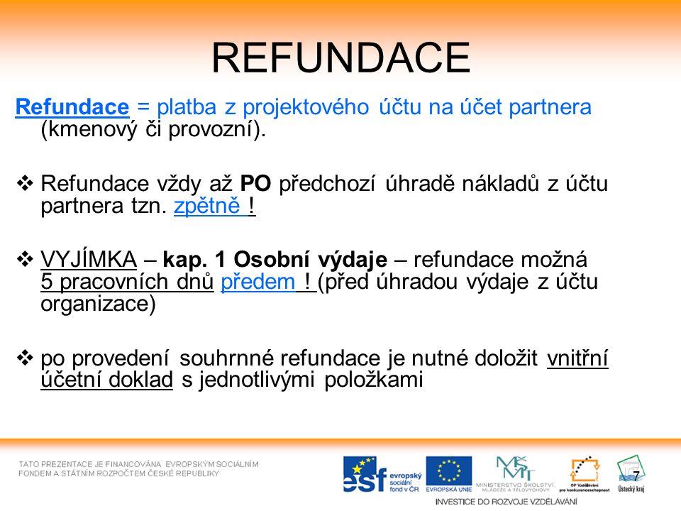 7 REFUNDACE Refundace = platba z projektového účtu na účet partnera (kmenový či provozní).  Refundace vždy až PO předchozí úhradě nákladů z účtu part