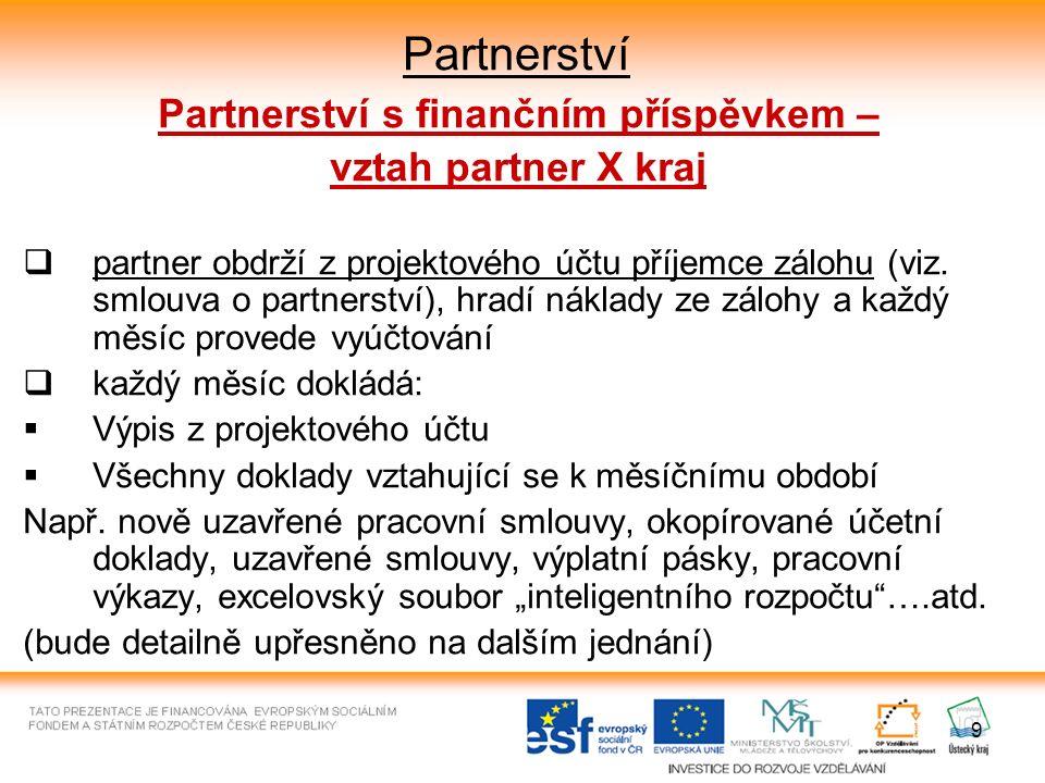 9 Partnerství Partnerství s finančním příspěvkem – vztah partner X kraj  partner obdrží z projektového účtu příjemce zálohu (viz. smlouva o partnerst