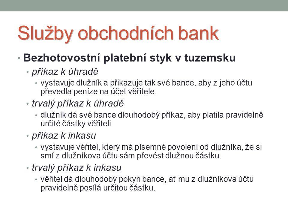 Služby obchodních bank Bezhotovostní platební styk v tuzemsku příkaz k úhradě vystavuje dlužník a přikazuje tak své bance, aby z jeho účtu převedla peníze na účet věřitele.