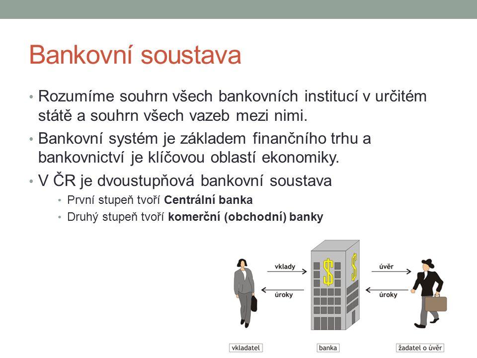 Bankovní soustava Rozumíme souhrn všech bankovních institucí v určitém státě a souhrn všech vazeb mezi nimi.