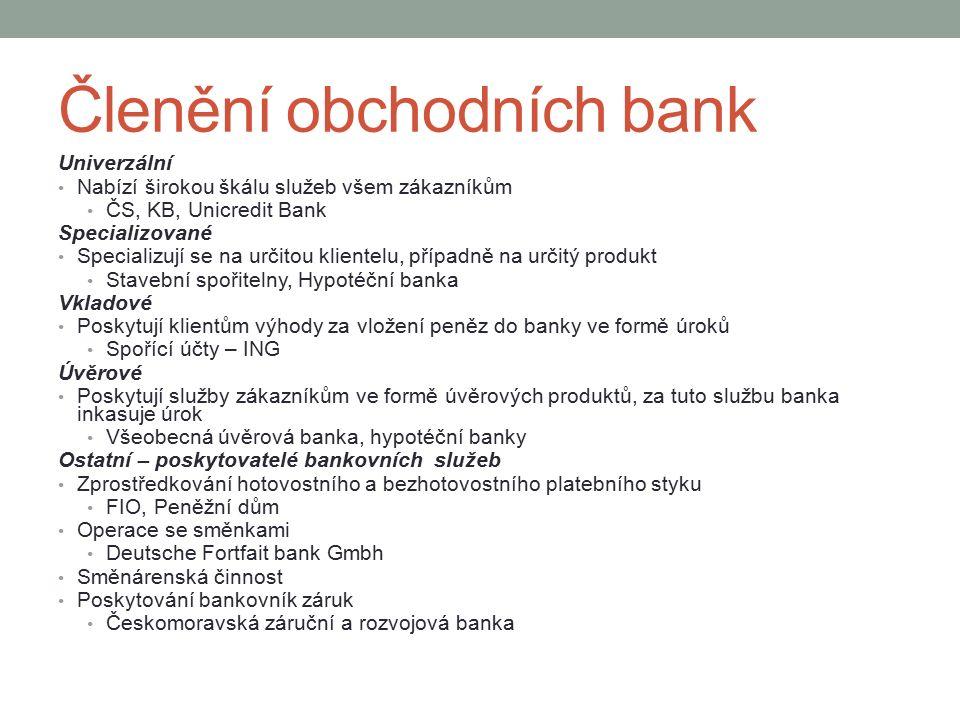 Členění obchodních bank Univerzální Nabízí širokou škálu služeb všem zákazníkům ČS, KB, Unicredit Bank Specializované Specializují se na určitou klientelu, případně na určitý produkt Stavební spořitelny, Hypotéční banka Vkladové Poskytují klientům výhody za vložení peněz do banky ve formě úroků Spořící účty – ING Úvěrové Poskytují služby zákazníkům ve formě úvěrových produktů, za tuto službu banka inkasuje úrok Všeobecná úvěrová banka, hypotéční banky Ostatní – poskytovatelé bankovních služeb Zprostředkování hotovostního a bezhotovostního platebního styku FIO, Peněžní dům Operace se směnkami Deutsche Fortfait bank Gmbh Směnárenská činnost Poskytování bankovník záruk Českomoravská záruční a rozvojová banka