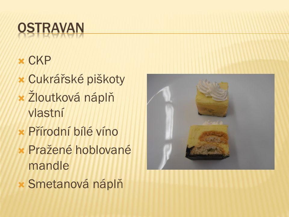  CKP  Cukrářské piškoty  Žloutková náplň vlastní  Přírodní bílé víno  Pražené hoblované mandle  Smetanová náplň