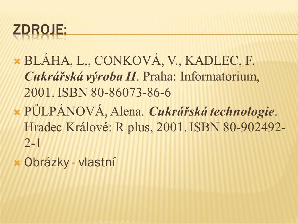  BLÁHA, L., CONKOVÁ, V., KADLEC, F. Cukrářská výroba II.