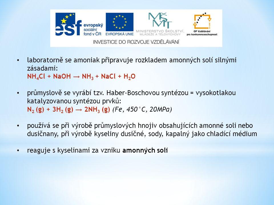 laboratorně se amoniak připravuje rozkladem amonných solí silnými zásadami: NH 4 Cl + NaOH → NH 3 + NaCl + H 2 O průmyslově se vyrábí tzv. Haber-Bosch