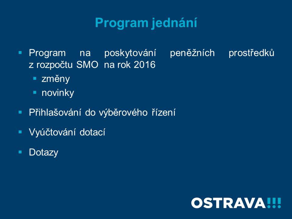 Program jednání  Program na poskytování peněžních prostředků z rozpočtu SMO na rok 2016  změny  novinky  Přihlašování do výběrového řízení  Vyúčtování dotací  Dotazy