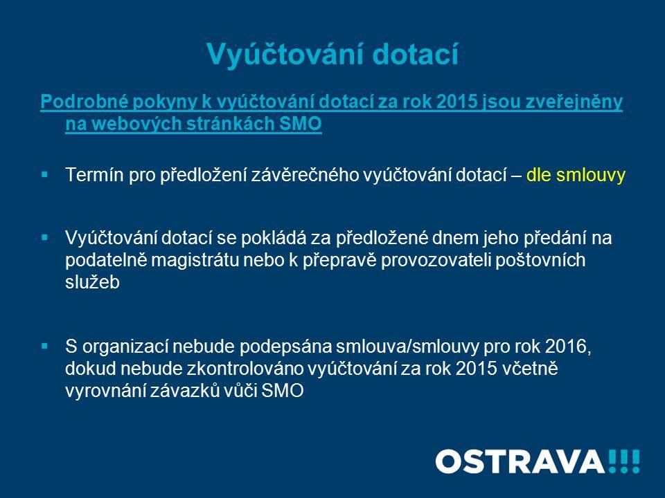 Vyúčtování dotací Podrobné pokyny k vyúčtování dotací za rok 2015 jsou zveřejněny na webových stránkách SMO  Termín pro předložení závěrečného vyúčtování dotací – dle smlouvy  Vyúčtování dotací se pokládá za předložené dnem jeho předání na podatelně magistrátu nebo k přepravě provozovateli poštovních služeb  S organizací nebude podepsána smlouva/smlouvy pro rok 2016, dokud nebude zkontrolováno vyúčtování za rok 2015 včetně vyrovnání závazků vůči SMO
