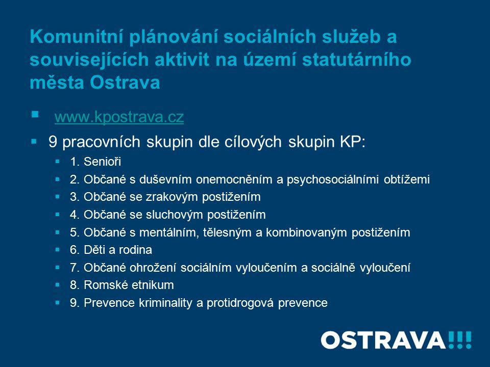 Komunitní plánování sociálních služeb a souvisejících aktivit na území statutárního města Ostrava  www.kpostrava.cz www.kpostrava.cz  9 pracovních skupin dle cílových skupin KP:  1.