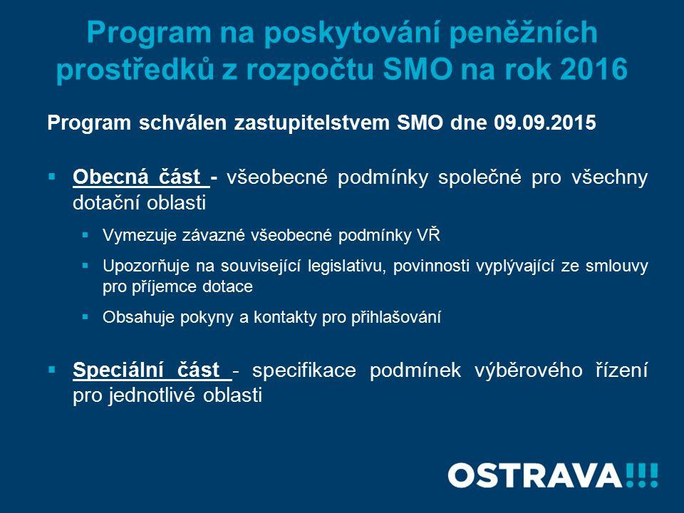 Program na poskytování peněžních prostředků z rozpočtu SMO na rok 2016 Program schválen zastupitelstvem SMO dne 09.09.2015  Obecná část - všeobecné podmínky společné pro všechny dotační oblasti  Vymezuje závazné všeobecné podmínky VŘ  Upozorňuje na související legislativu, povinnosti vyplývající ze smlouvy pro příjemce dotace  Obsahuje pokyny a kontakty pro přihlašování  Speciální část - specifikace podmínek výběrového řízení pro jednotlivé oblasti