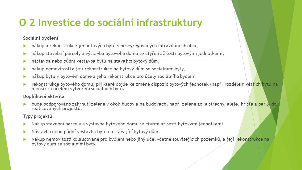 O 2 Investice do sociální infrastruktury Sociální bydlení  nákup a rekonstrukce jednotlivých bytů v nesegregovaných intravilánech obcí,  nákup stave