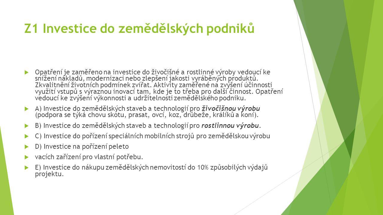 Z1 Investice do zemědělských podniků  Opatření je zaměřeno na investice do živočišné a rostlinné výroby vedoucí ke snížení nákladů, modernizaci nebo zlepšení jakosti vyráběných produktů.