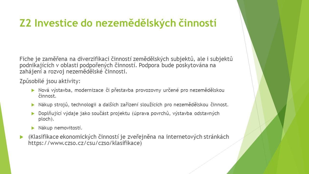 Z2 Investice do nezemědělských činností Fiche je zaměřena na diverzifikaci činností zemědělských subjektů, ale i subjektů podnikajících v oblasti podp