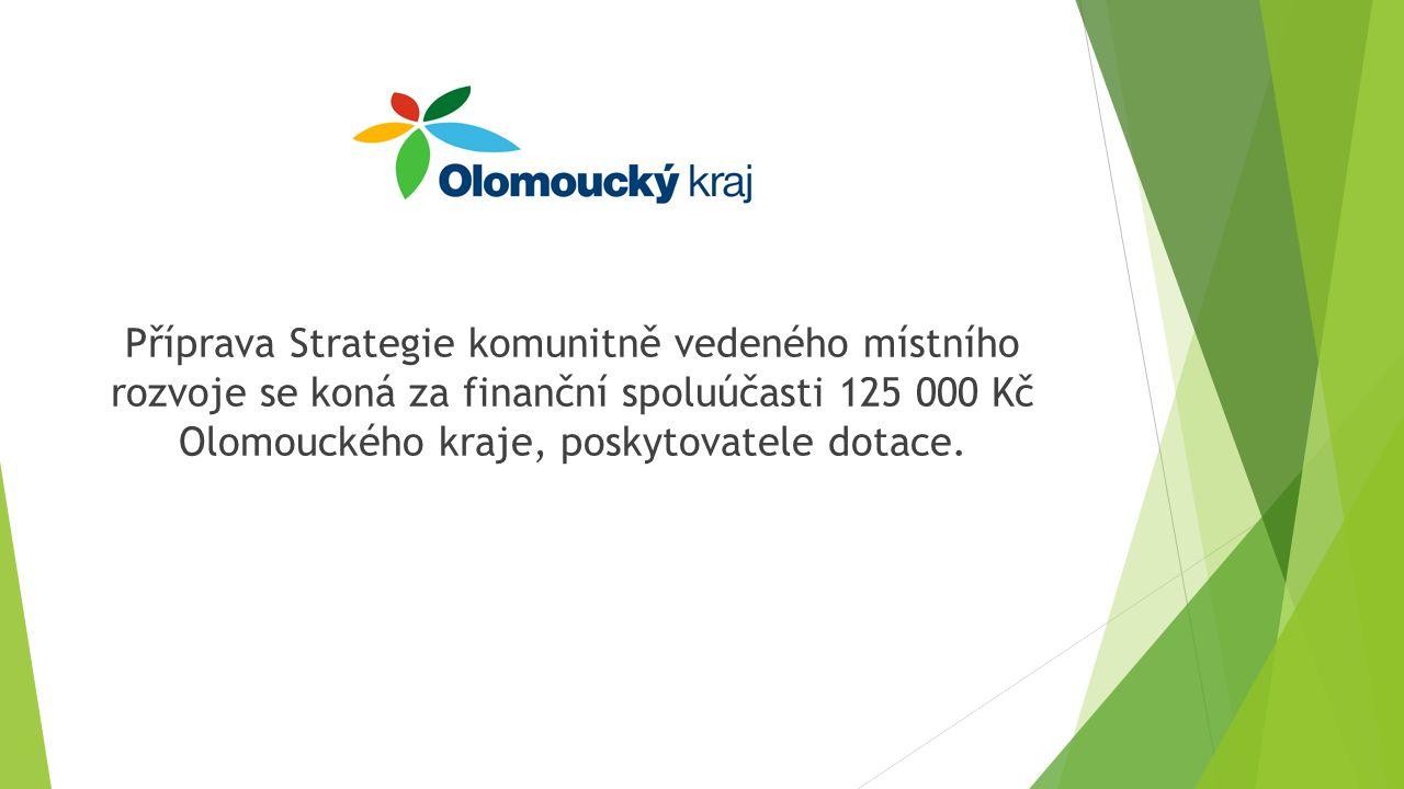 Příprava Strategie komunitně vedeného místního rozvoje se koná za finanční spoluúčasti 125 000 Kč Olomouckého kraje, poskytovatele dotace.