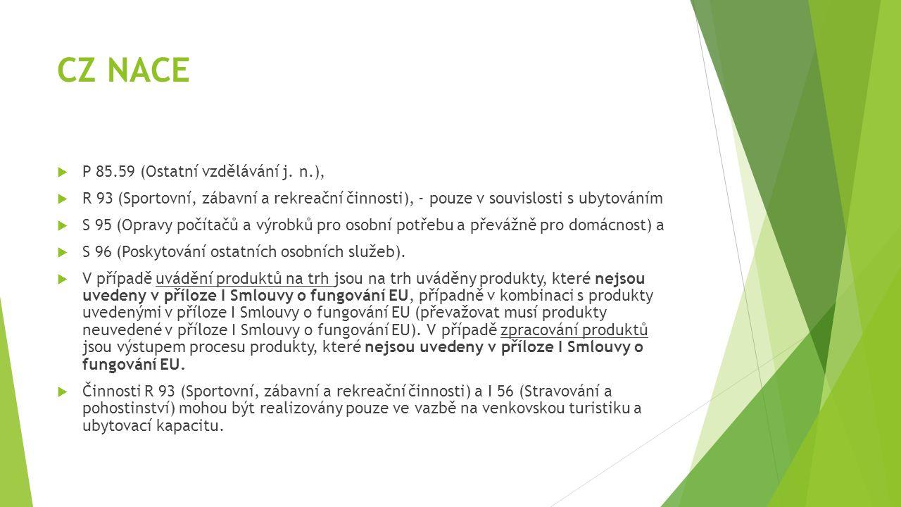 CZ NACE  P 85.59 (Ostatní vzdělávání j. n.),  R 93 (Sportovní, zábavní a rekreační činnosti), - pouze v souvislosti s ubytováním  S 95 (Opravy počí