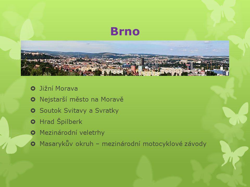 Olomouc  Střední Morava – Hornomoravský úval  Mezinárodní výstava květin – FLORA OLOMOUC  Městská památková rezervace  Potravinářský průmysl (Olomoucké tvarůžky)