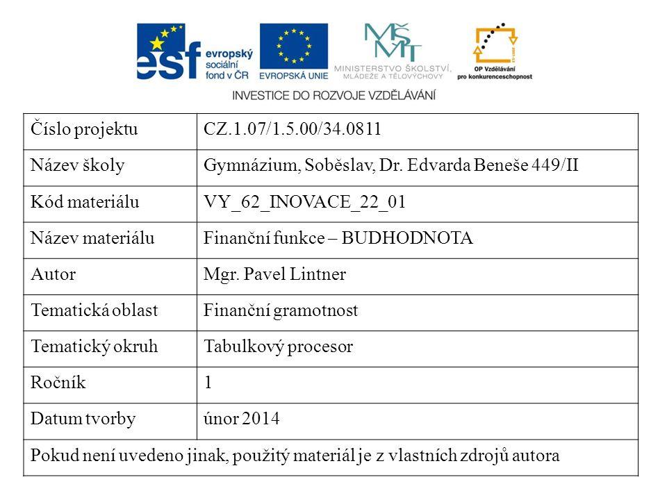 Číslo projektuCZ.1.07/1.5.00/34.0811 Název školyGymnázium, Soběslav, Dr. Edvarda Beneše 449/II Kód materiáluVY_62_INOVACE_22_01 Název materiáluFinančn
