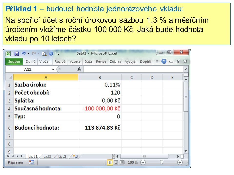 Příklad 1 – budoucí hodnota jednorázového vkladu: Na spořicí účet s roční úrokovou sazbou 1,3 % a měsíčním úročením vložíme částku 100 000 Kč. Jaká bu