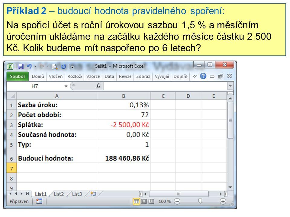 Příklad 2 – budoucí hodnota pravidelného spoření: Na spořicí účet s roční úrokovou sazbou 1,5 % a měsíčním úročením ukládáme na začátku každého měsíce