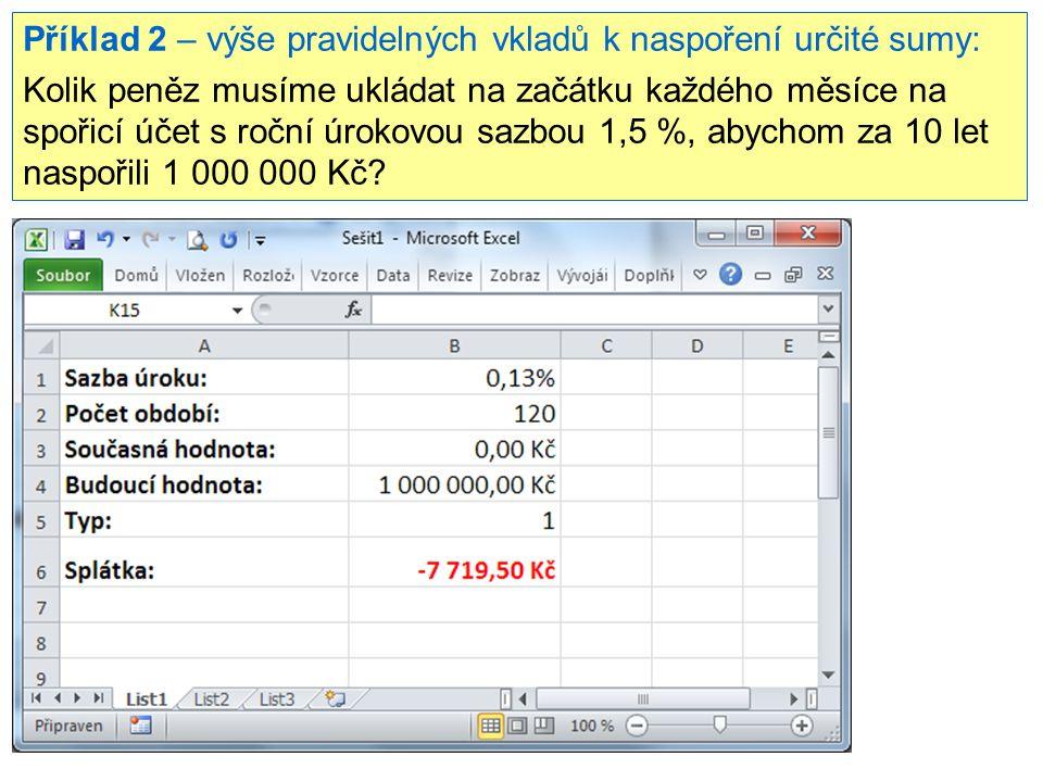 Příklad 2 – výše pravidelných vkladů k naspoření určité sumy: Kolik peněz musíme ukládat na začátku každého měsíce na spořicí účet s roční úrokovou sazbou 1,5 %, abychom za 10 let naspořili 1 000 000 Kč