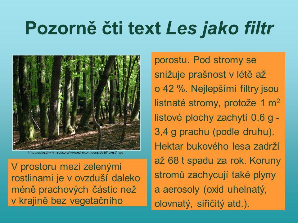 Pozorně čti text Les jako filtr porostu. Pod stromy se snižuje prašnost v létě až o 42 %. Nejlepšími filtry jsou listnaté stromy, protože 1 m 2 listov