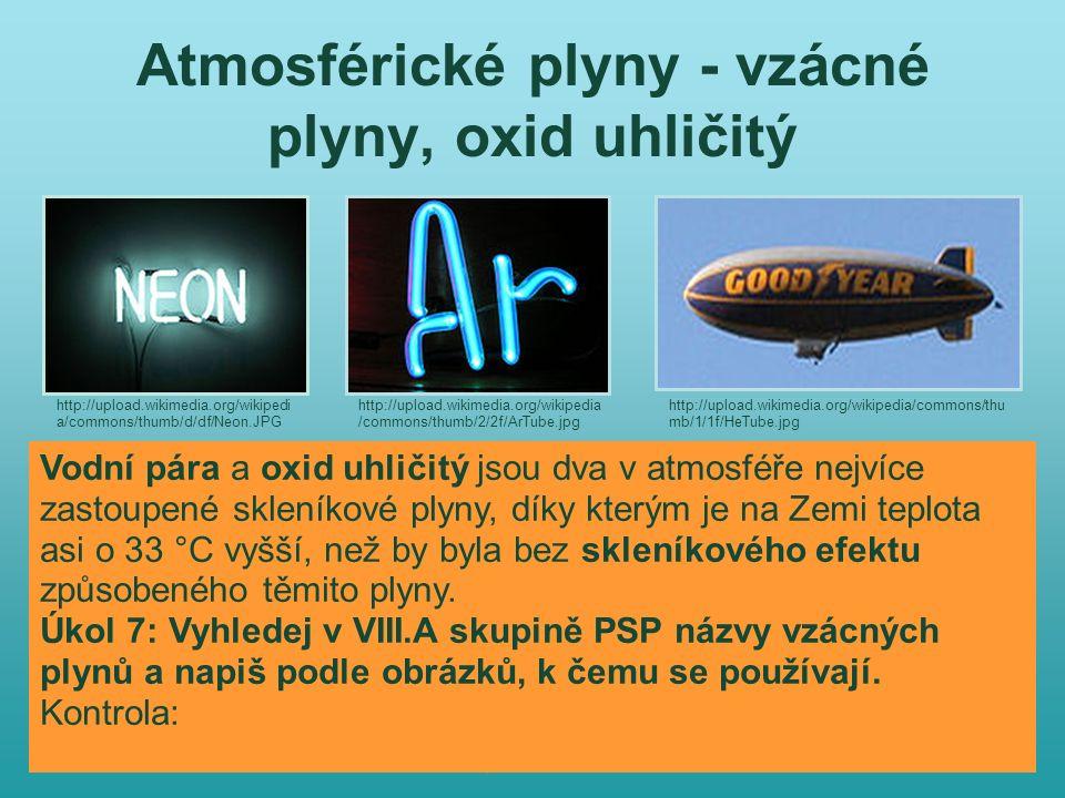 Atmosférické plyny - vzácné plyny, oxid uhličitý http://upload.wikimedia.org/wikipedi a/commons/thumb/d/df/Neon.JPG http://upload.wikimedia.org/wikipedia /commons/thumb/2/2f/ArTube.jpg http://upload.wikimedia.org/wikipedia/commons/thu mb/1/1f/HeTube.jpg Vodní pára a oxid uhličitý jsou dva v atmosféře nejvíce zastoupené skleníkové plyny, díky kterým je na Zemi teplota asi o 33 °C vyšší, než by byla bez skleníkového efektu způsobeného těmito plyny.