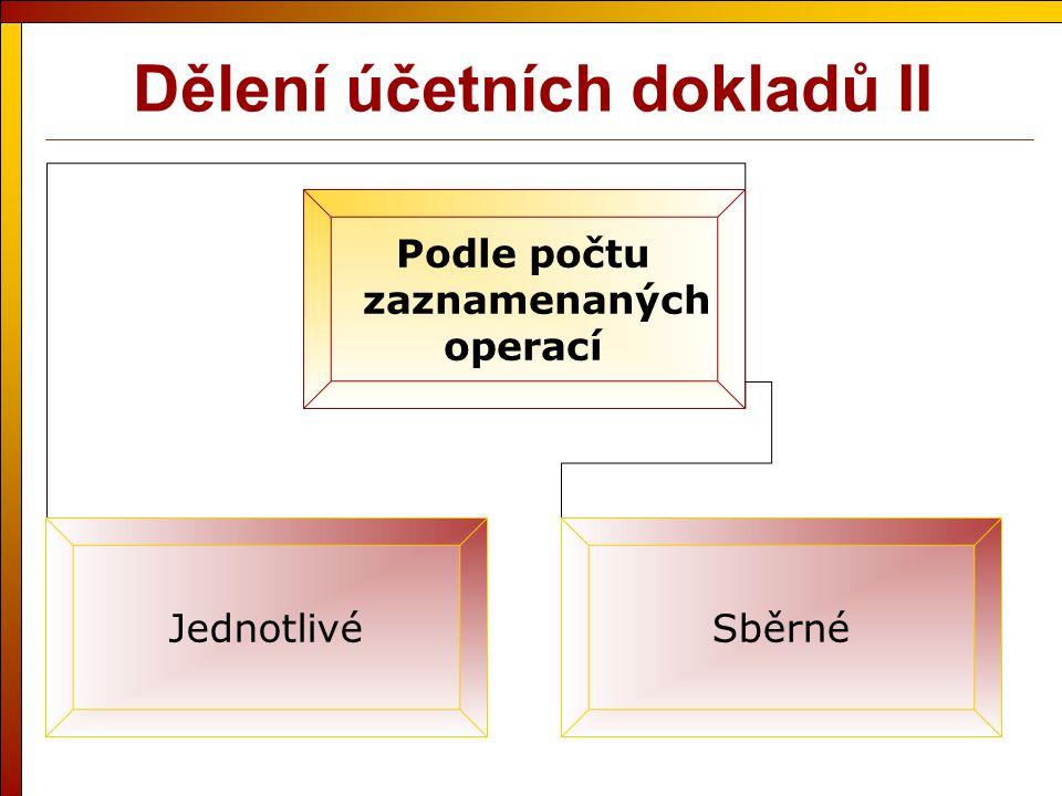 Dělení účetních dokladů II Podle počtu zaznamenaných operací JednotlivéSběrné