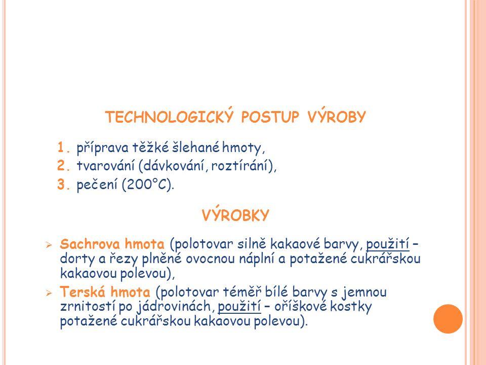 TECHNOLOGICKÝ POSTUP VÝROBY 1. příprava těžké šlehané hmoty, 2.