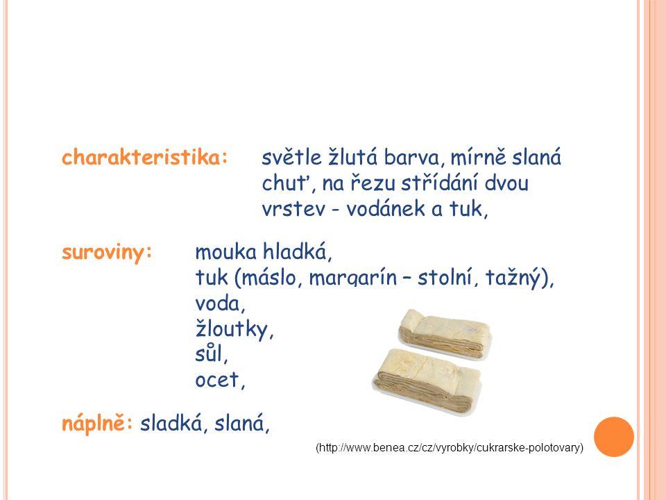 charakteristika: světle žlutá barva, mírně slaná chuť, na řezu střídání dvou vrstev - vodánek a tuk, suroviny: mouka hladká, tuk (máslo, margarín – stolní, tažný), voda, žloutky, sůl, ocet, náplně: sladká, slaná, (http://www.benea.cz/cz/vyrobky/cukrarske-polotovary)