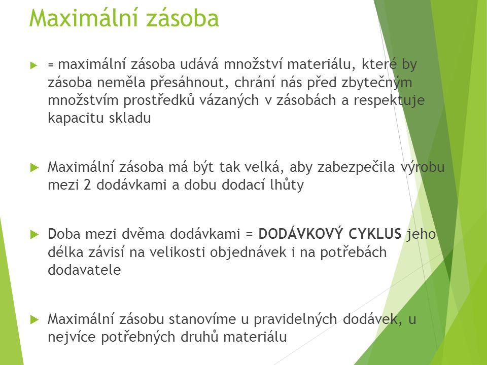 Maximální zásoba  = maximální zásoba udává množství materiálu, které by zásoba neměla přesáhnout, chrání nás před zbytečným množstvím prostředků vázaných v zásobách a respektuje kapacitu skladu  Maximální zásoba má být tak velká, aby zabezpečila výrobu mezi 2 dodávkami a dobu dodací lhůty  Doba mezi dvěma dodávkami = DODÁVKOVÝ CYKLUS jeho délka závisí na velikosti objednávek i na potřebách dodavatele  Maximální zásobu stanovíme u pravidelných dodávek, u nejvíce potřebných druhů materiálu