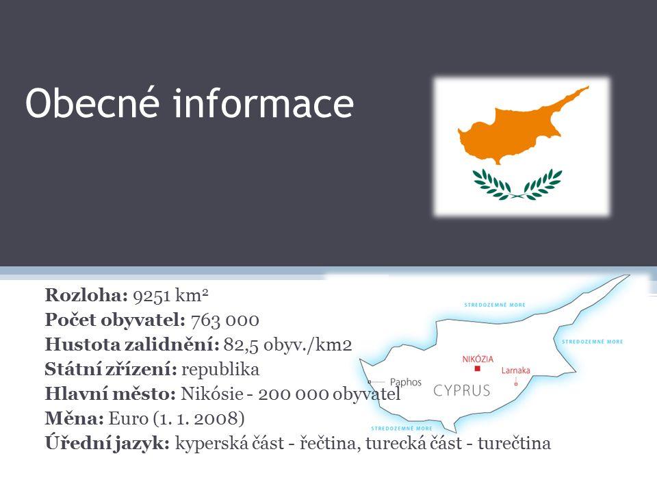 Obecné informace Rozloha: 9251 km 2 Počet obyvatel: 763 000 Hustota zalidnění: 82,5 obyv./km2 Státní zřízení: republika Hlavní město: Nikósie - 200 000 obyvatel Měna: Euro (1.