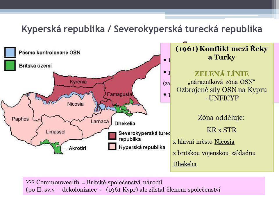 Kyperská republika / Severokyperská turecká republika Historie území  1571 – 1878 – Byzantská říše  1878 – 1960 – Britské území (začátek 19.stol.