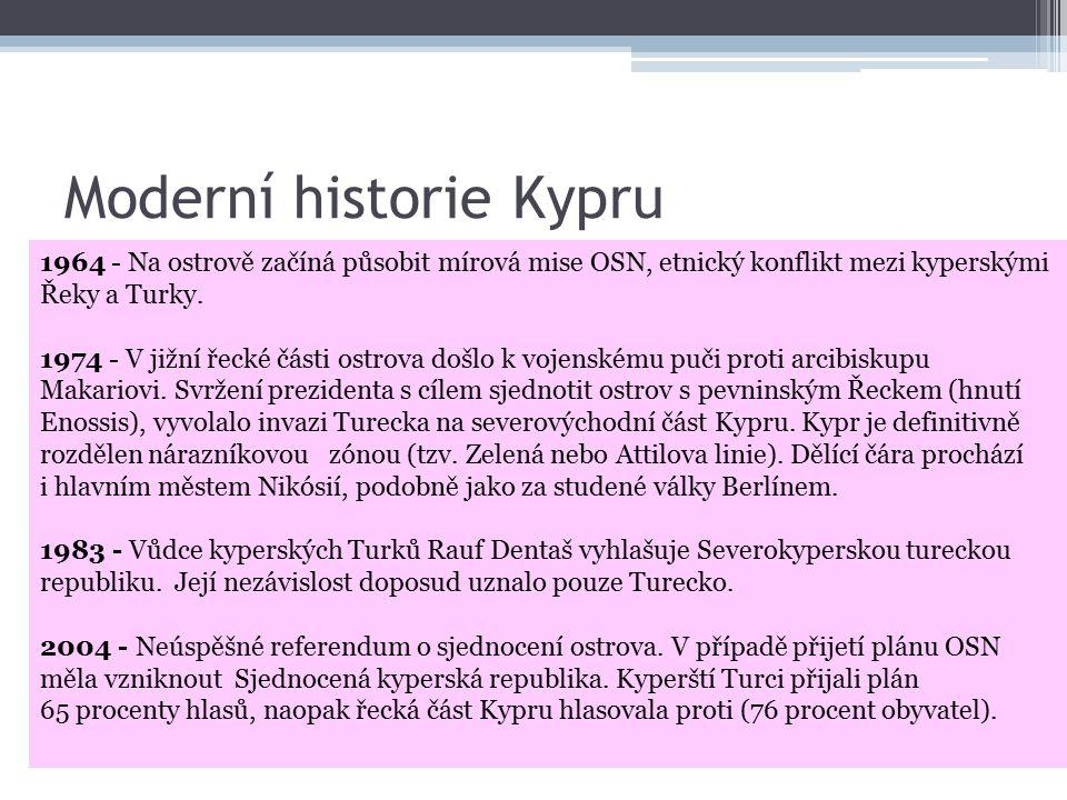 Moderní historie Kypru 1878 - Britové získávají od Osmanské říše ostrov do správy.