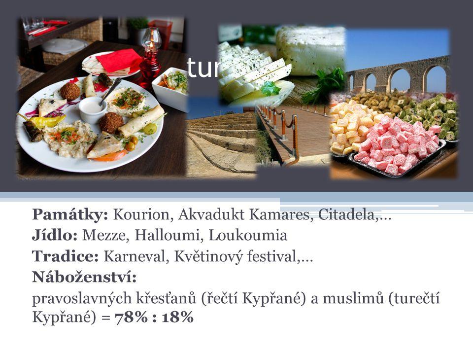 Památky: Kourion, Akvadukt Kamares, Citadela,… Jídlo: Mezze, Halloumi, Loukoumia Tradice: Karneval, Květinový festival,… Náboženství: pravoslavných křesťanů (řečtí Kypřané) a muslimů (turečtí Kypřané) = 78% : 18% Památky, kultura a náboženství