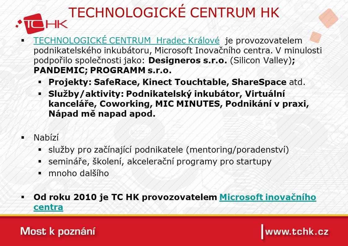 TECHNOLOGICKÉ CENTRUM HK  TECHNOLOGICKÉ CENTRUM Hradec Králové je provozovatelem podnikatelského inkubátoru, Microsoft Inovačního centra.