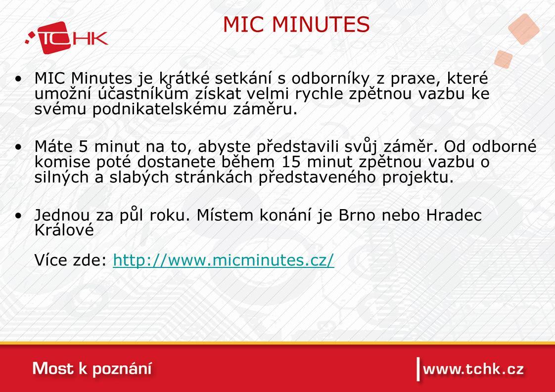 MIC MINUTES MIC Minutes je krátké setkání s odborníky z praxe, které umožní účastníkům získat velmi rychle zpětnou vazbu ke svému podnikatelskému záměru.
