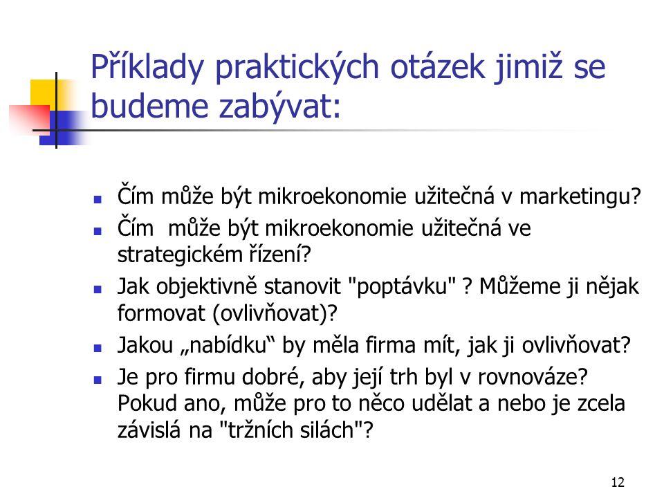12 Příklady praktických otázek jimiž se budeme zabývat: Čím může být mikroekonomie užitečná v marketingu.