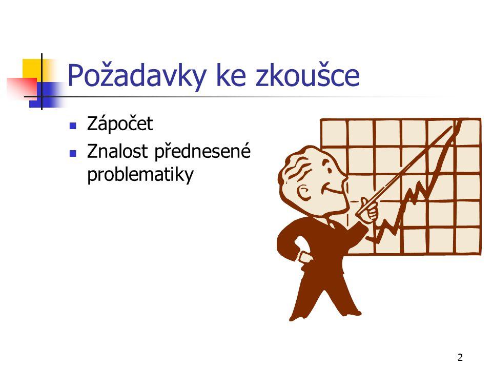 2 Požadavky ke zkoušce Zápočet Znalost přednesené problematiky