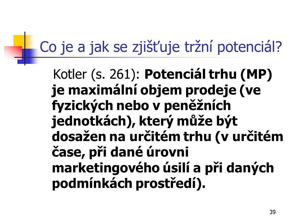 39 Co je a jak se zjišťuje tržní potenciál. Kotler (s.