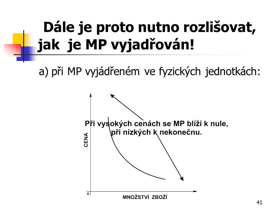 41 Dále je proto nutno rozlišovat, jak je MP vyjadřován.