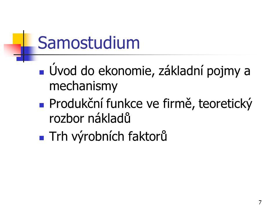 7 Samostudium Úvod do ekonomie, základní pojmy a mechanismy Produkční funkce ve firmě, teoretický rozbor nákladů Trh výrobních faktorů
