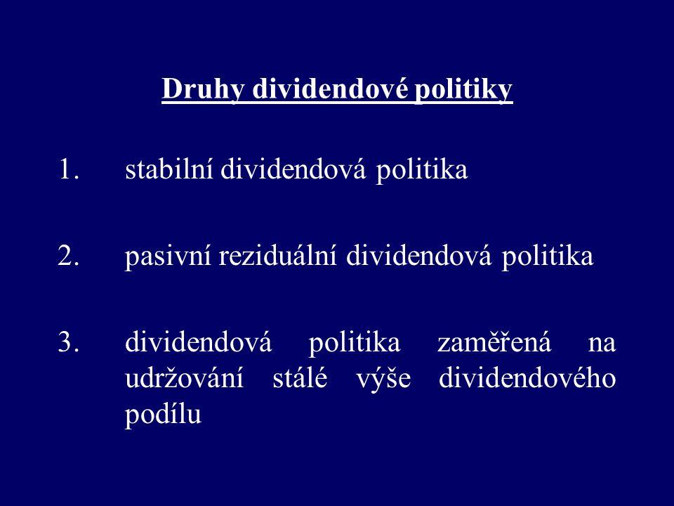 Druhy dividendové politiky 1. stabilní dividendová politika 2.