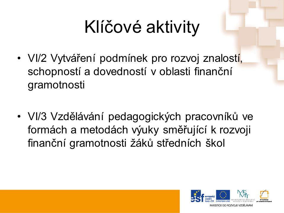 Klíčové aktivity VI/2 Vytváření podmínek pro rozvoj znalostí, schopností a dovedností v oblasti finanční gramotnosti VI/3 Vzdělávání pedagogických pracovníků ve formách a metodách výuky směřující k rozvoji finanční gramotnosti žáků středních škol